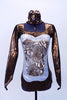 High neck copper leotard has scoop front, long sleeves & zip back.Torso has an white & sequined floral copper lace with AB Swarovski. Has matching hair piece. Front