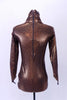 High neck copper leotard has scoop front, long sleeves & zip back.Torso has an white & sequined floral copper lace with AB Swarovski. Has matching hair piece. Back