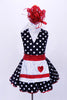 Halter style, black & white polk-a-dot leotard with white sparkle collar, has matching skirt with petticoat. Comes with a white sequined apron with red heart and large red hair accessory. Front
