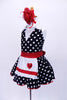 Halter style, black & white polk-a-dot leotard with white sparkle collar, has matching skirt with petticoat. Comes with a white sequined apron with red heart and large red hair accessory. Side