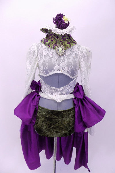Ivory lace half top has long sleeves & ruffled Victorian collar with cameo and hair piece. Bottom is bronze velvet briefs under a purple taffeta peplum skirt. Front