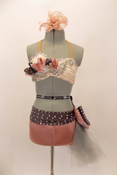 Costume has an ivory satin bra with sequined appliques, crystals & pink-grey loops. Pink short has wide grey pull-on belt with large bow, covered in crystals. Front