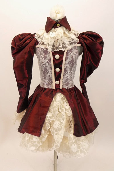 Deep burgundy 3 piece taffeta &cream lace Elizabethan style costume has pouf-sleeves with lace cuffs, ruffled lace skirt with taffeta overlay & high lace neck with collar accessory with front panel and buttons. Front