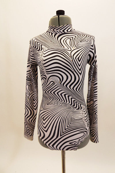 Black & white long sleeved, keyhole back leotard has abstract optical illusion swirl designs. The matching Napoleon-style hat is made of light weigh foam.  Front