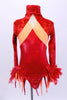 Red iridescent leotard has crushed velvet upper with orange stripe extending to open back with orange & red flame bustle. Sleeves & hat  have red feathers. Front