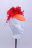 Red iridescent leotard has crushed velvet upper with orange stripe extending to open back with orange & red flame bustle. Sleeves & hat  have red feathers. Hat Accessory