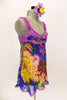 Silk chiffon baby-doll dress with built in bra (32A) has peony floral designs of royal blue, yellow, purple and green, scattered with crystals. Lavender lace edges the bodice area and straps. Gold, red crystals accent the entire bust area. Comes with purple shorts and matching floral hair accessory. Right side