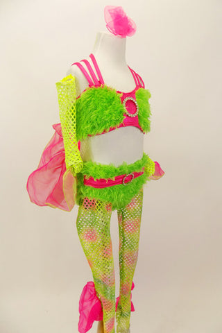 Lime green faux-fur bra and panty has hot pink criss-cross straps and belt with crystal buckle and front broach. Comes with pink/green wide mesh stockings that have pink organza fin ruffle and matching mesh finned gauntlets. The behind has a bright pink 3-D fish tale. Right side