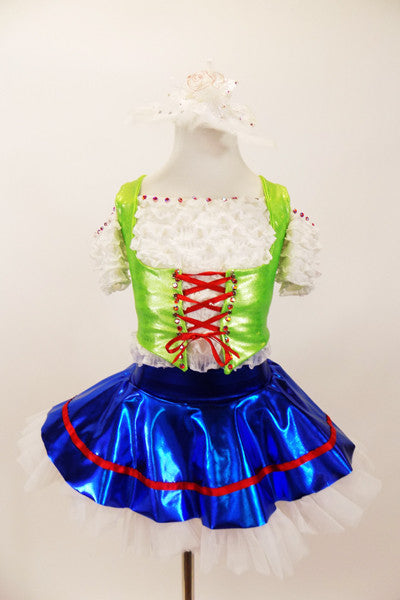Lime green vest over ruffled white off-shoulder blouse, has red corset front tie and crystal accents. The accompanying bright blue skirt has white petticoat and red trim. Comes with matching hair accessory. Front