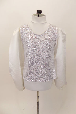 White high neck shirt-leotard,  zips at back has sateen blouson sleeves. Comes with pull on white and silver V-front vest which can be worn separately. Front