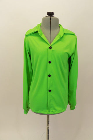 Lime green stretch shirt has black button closure, cuffs and collar. Simple and can be used for a variety of styles when paired with pants. Front
