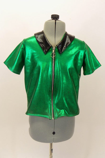 Bright green metallic stretch skirt has zip front with hoop and black collar. Can be used with black pants for a jazz or tap. Front
