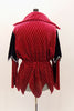 Deep red velvet open collar tunic shirt has elastic waistband and pointy edge peplum. Shoulders have navy sequined accent. Can be duet with female version. Back