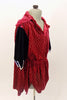 Deep red velvet open collar tunic shirt has elastic waistband and pointy edge peplum. Shoulders have navy sequined accent. Can be duet with female version. Right side