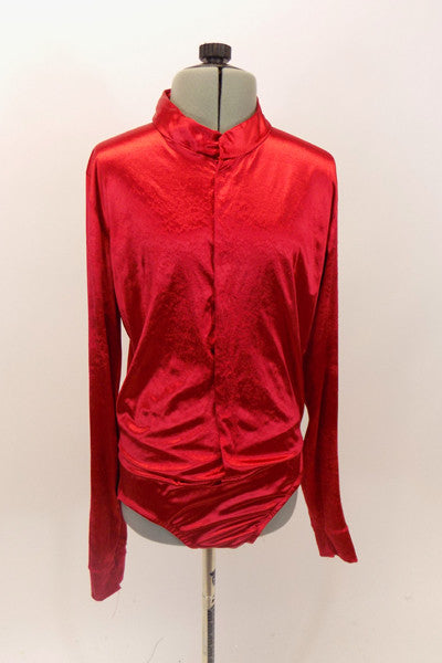 Red stretch sateen shirt is tapered in cut and is more fitted than  a typical ballet shirt.  The front had snap closure, cuffs and mandarin style collar. Has attached briefs with snap closure. Front