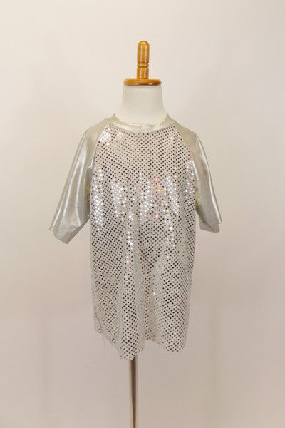 Silver top has glitter torso and metallic sleeves. Can be worn  for a variety of genres.   Front