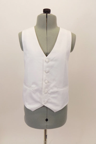 White lined vest has button closure with white accent buttons, adjustable back strap and decoration pockets. Can be worn under suit or just over a shirt. Front