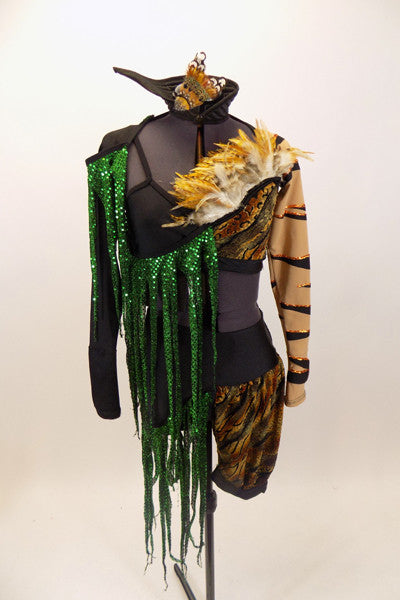 Animal print costume is a 2-piece with large feather detail & green scaly fringe on bra and shorts.Has shrug with tiger stripe sleeves & stand-up collar. Front