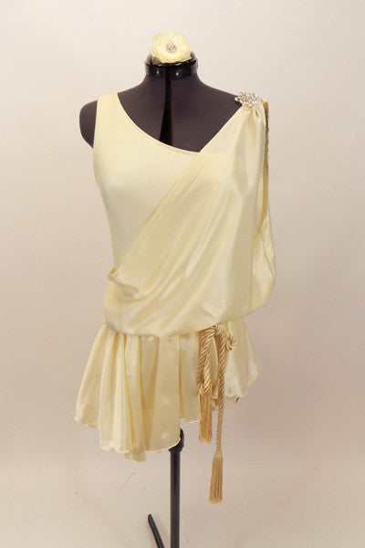 Ivory single shoulder, lined leotard  comes with, ivory satin toga style cover that has peplum, corded tassel belt & crystal accent broach. Has hair accessory. Front