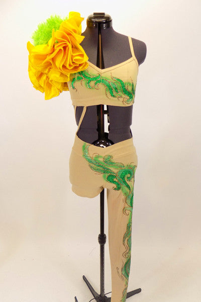 Nude one shoulder unitard has unique hand painted leaves and vines. There is a huge yellow flower on the shoulder. Comes with matching floral hair accessory. Front