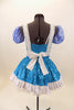 Blue sequined leotard dress has white top and separate pull-on checkered poufy sleeves. Comes with sequined white apron with blue checkered ruffles. Back