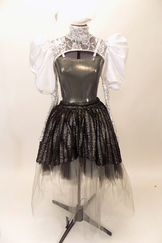 Charcoal leotard with open sides & back, has high collar, lace shrug with pleated satin pouf sleeves. Skirt is iridescent black high-low overlay on black & grey tulle. Comes with large white hair accessory, Front