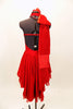 Red high neck, halter dress has attached skirt in layers of red chiffon. There is an attached red jeweled necklace and large satin bow that sits on right shoulder. Comes with red, crystaled hair accessory. Back