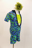 Blue & green kaleidoscope pattern short unitard has deep open front with black crystal covered edge &collar. Comes with  green camisole half-top, leg warmer/socks & hair flower. Right side