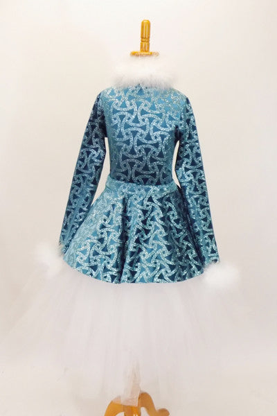 Blue sparkled chain-pattern coat dress has white marabou collar and cuffs. It sits overtop of white romantic tutu with hook-eye closure on the  bask. Comes with matching fez hat that has white marabou and crystal snowflake brooch. Front