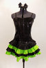 Black sequined & boned corset dress has grommet & lace  back. Has attached skirt with layers of ruffled green & black satin. Has separate panty & hair accessory. Front