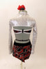 Black velvet halter style top has large swirls of red and silver. The top is connected to the short at mid-torso and has crystal belt buckle accent. The black shorts have a matching swirled peplum bustle. Comes with silver sequined shrug and red-silver floral hair accessory. Back