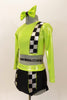 Lime green half top has black-silver racing check pattern on sleeve, bodice & on matching briefs. Comes with matching checkered legwarmer/socks & lime green hair bow. Left side