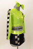 Lime green half top has black-silver racing check pattern on sleeve, bodice & on matching briefs. Comes with matching checkered legwarmer/socks & lime green hair bow. Right side