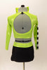 Lime green half top has black-silver racing check pattern on sleeve, bodice & on matching briefs. Comes with matching checkered legwarmer/socks & lime green hair bow. Back