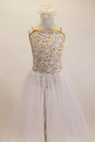 White velvet camisole leotard has golden floral pattern and attached, white romantic length tulle tutu skirt. Comes with matching floral hair accessory. Front
