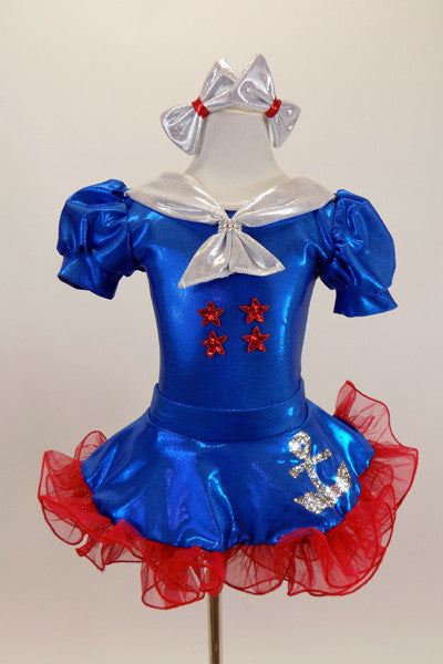 Blue pouf sleeve leotard has silver naval collar & red star.s Has matching skirt with anchor motif, silver bow,ruffled red petticoat, gloves, socks & hair bows. Front