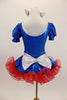 Blue pouf sleeve leotard has silver naval collar & red star.s Has matching skirt with anchor motif, silver bow,ruffled red petticoat, gloves, socks & hair bows. Back