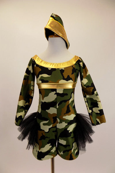 Camouflage print long sleeved short unitard has gold band on neckline & empire bust. A triple layered tulle bustle spans across back hip to hip. Comes with matching army hat. Front