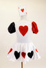White velvet leotard dress has heart motif on bodice.White satin skirt has alternating red & black hearts over white petticoat. Has ace of hearts hair piece. Front