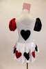 White velvet leotard dress has heart motif on bodice.White satin skirt has alternating red & black hearts over white petticoat. Has ace of hearts hair piece. Back