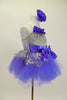 Silver camisole leotard dress has silver lace overlay. Lace peplum sit on the periwinkle blue tutu skirt. Has satin waist with bow & ruffle along bust & hair accessory. Side