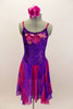 Purple crushed velvet leotard dress has long chiffon attached skirt with purple & fuchsia waves. Bodice has large sequined floral applique. Has rose hair piece. Front