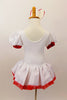 White velvet leotard dress has pouf sleeves with red cuffs. hand painted glittery hearts cascade down the bodice and skirt . There is a red tulle petticoat and the skirt is edged with red lace Comes with heart hair accessory. Back