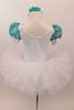 White velvet leotard has turquoise lace sleeves. Neckline has turquoise sequins & large jeweled applique. Comes with white tutu skirt & floral hair accessory. Back