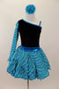 Black velvet leotard has single sleeve of soft, layered turquoise ruffles. Comes with matching turquoise ruffled skirt with petticoat and floral hair accessory. Front