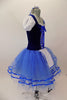 Peasant style  ballet dress has blue velvet bodice ,corset tie front & pouf sleeves. Skirt is layers of blue tulle with ribbon accent and a white apron. Comes with hair accessory. Right Side