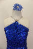 Large sequined blue dress has dangling silver sequin fringe. Bodice comes to a point at neck where it joins to silver straps. Has low back & blue hair accessory. Front zoomed