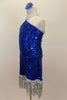 Large sequined blue dress has dangling silver sequin fringe. Bodice comes to a point at neck where it joins to silver straps. Has low back & blue hair accessory. Left side