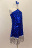Large sequined blue dress has dangling silver sequin fringe. Bodice comes to a point at neck where it joins to silver straps. Has low back & blue hair accessory. Right side