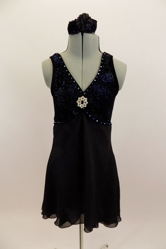 Late Last Night, Black and Navy Lyrical Dress, For Sale. Front